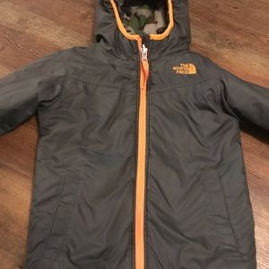 Boys north face winter reversible  jacket
